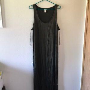 H&M army green long maxi dress